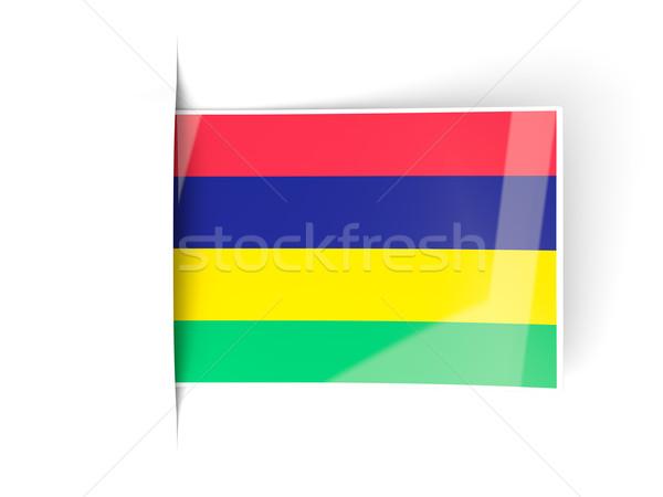 Tér címke zászló Mauritius izolált fehér Stock fotó © MikhailMishchenko