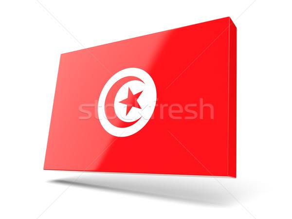 Kare ikon bayrak Tunus yalıtılmış beyaz Stok fotoğraf © MikhailMishchenko
