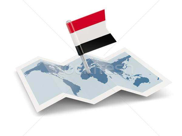 Kaart vlag Jemen geïsoleerd witte Stockfoto © MikhailMishchenko