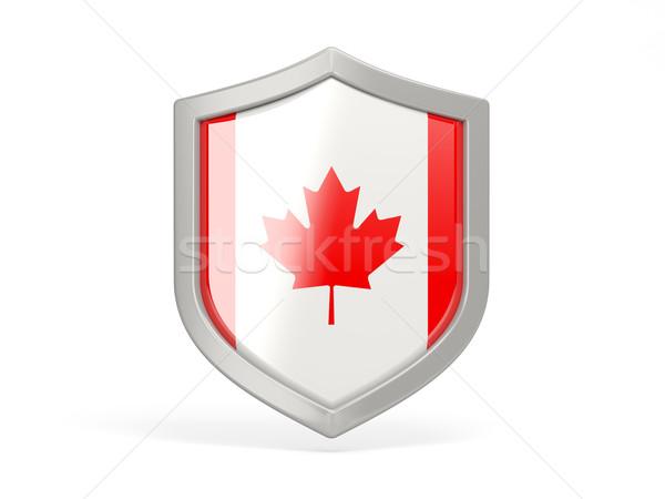 Escudo ícone bandeira Canadá isolado branco Foto stock © MikhailMishchenko