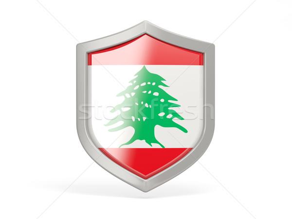 ストックフォト: シールド · アイコン · フラグ · レバノン · 孤立した · 白