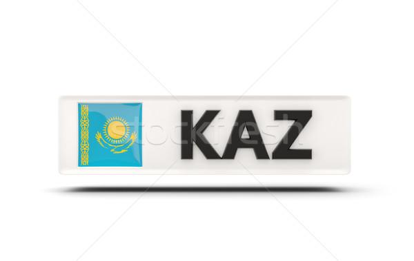 квадратный икона флаг Казахстан iso Код Сток-фото © MikhailMishchenko