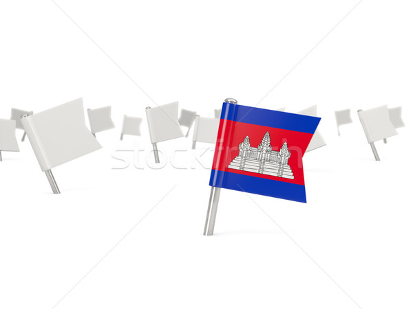 Tér tő zászló Kambodzsa izolált fehér Stock fotó © MikhailMishchenko