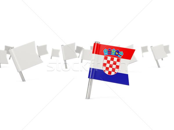 квадратный Pin флаг Хорватия изолированный белый Сток-фото © MikhailMishchenko