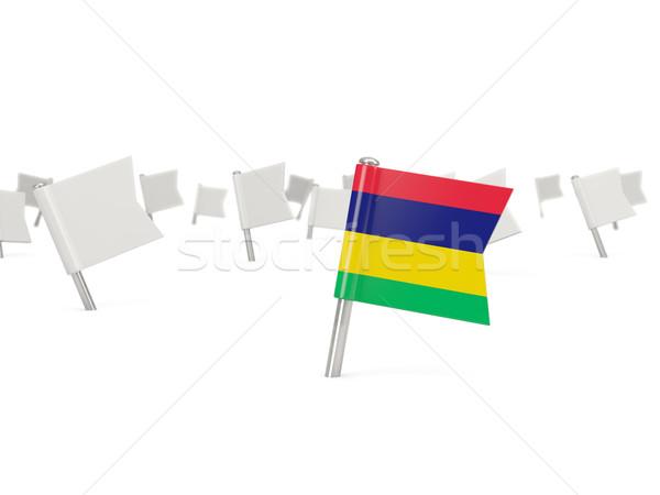 Placu pin banderą Mauritius odizolowany biały Zdjęcia stock © MikhailMishchenko