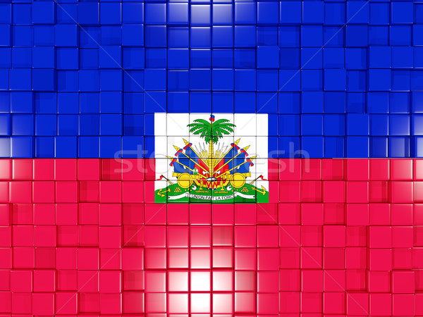 Carré pavillon Haïti 3d illustration mosaïque Photo stock © MikhailMishchenko