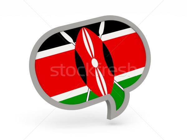 Chat ikona banderą Kenia odizolowany biały Zdjęcia stock © MikhailMishchenko