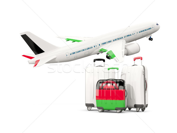 Luggage with flag of malawi. Three bags with airplane Stock photo © MikhailMishchenko