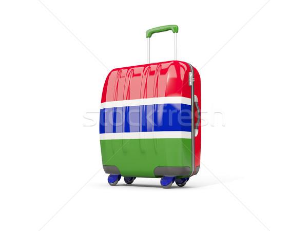 Luggage with flag of gambia. Suitcase isolated on white Stock photo © MikhailMishchenko