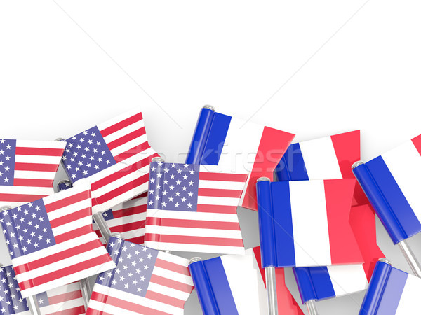 Flag pins of USA and France isolated on white. 3D illustration Stock photo © MikhailMishchenko