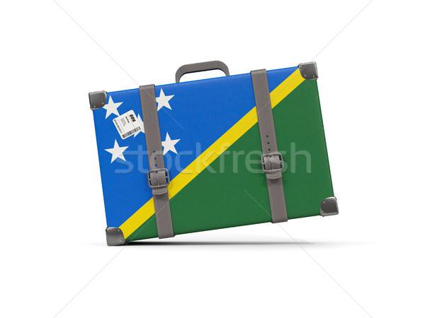 Bagaglio bandiera Isole Salomone valigia isolato bianco Foto d'archivio © MikhailMishchenko