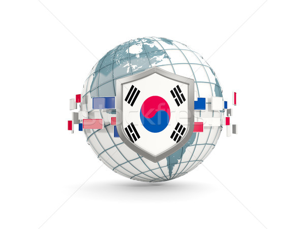 Globe and shield with flag of korea south isolated on white Stock photo © MikhailMishchenko