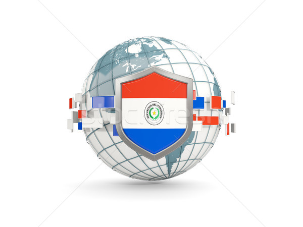 Globe and shield with flag of paraguay isolated on white Stock photo © MikhailMishchenko