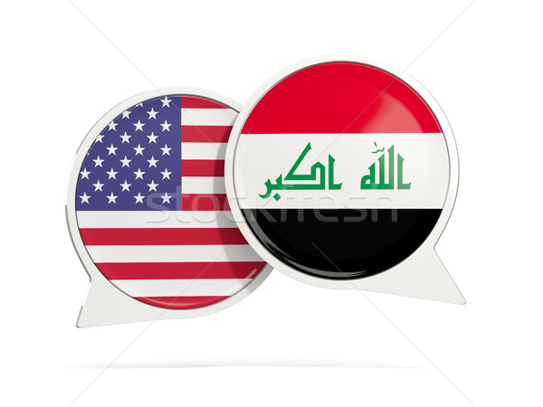 Chat bubbles of USA and Iraq isolated on white Stock photo © MikhailMishchenko