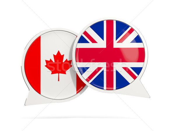 Chat bubbles of Canada and UK isolated on white Stock photo © MikhailMishchenko
