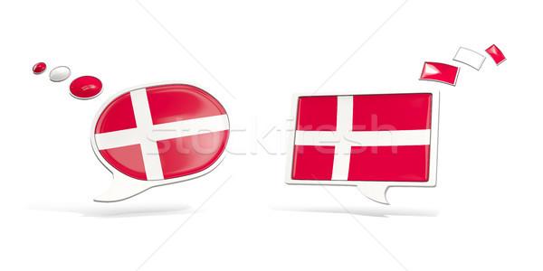 Dois conversar ícones bandeira Dinamarca praça Foto stock © MikhailMishchenko