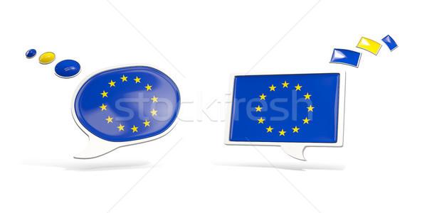 Dwa chat ikona banderą europejski Unii Zdjęcia stock © MikhailMishchenko
