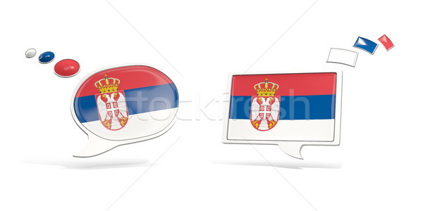 Two chat icons with flag of serbia Stock photo © MikhailMishchenko
