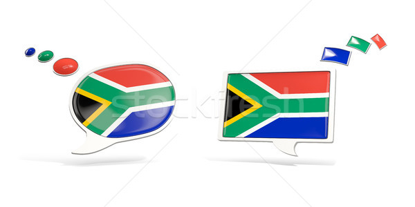 Two chat icons with flag of south africa Stock photo © MikhailMishchenko