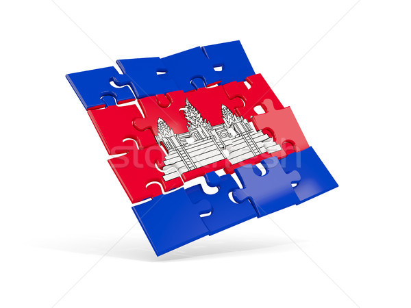 Quebra-cabeça bandeira Camboja isolado branco ilustração 3d Foto stock © MikhailMishchenko