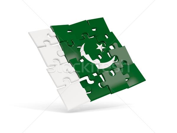 Bilmece bayrak Pakistan yalıtılmış beyaz 3d illustration Stok fotoğraf © MikhailMishchenko