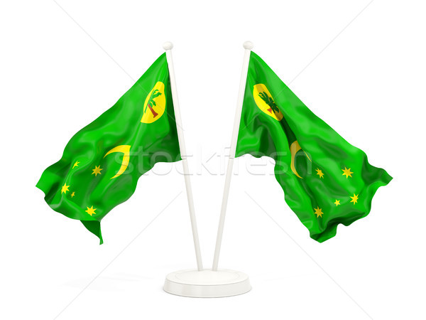 Two waving flags of cocos islands Stock photo © MikhailMishchenko