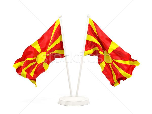 два флагами Македонии изолированный белый Сток-фото © MikhailMishchenko