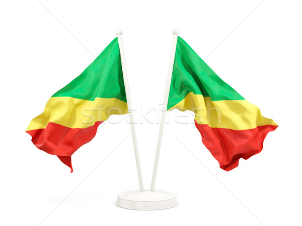 Two waving flags of republic of the congo Stock photo © MikhailMishchenko