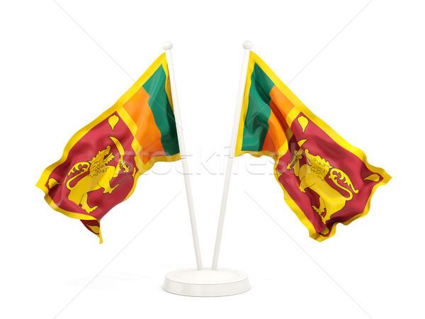 Kettő integet zászlók Sri Lanka izolált fehér Stock fotó © MikhailMishchenko