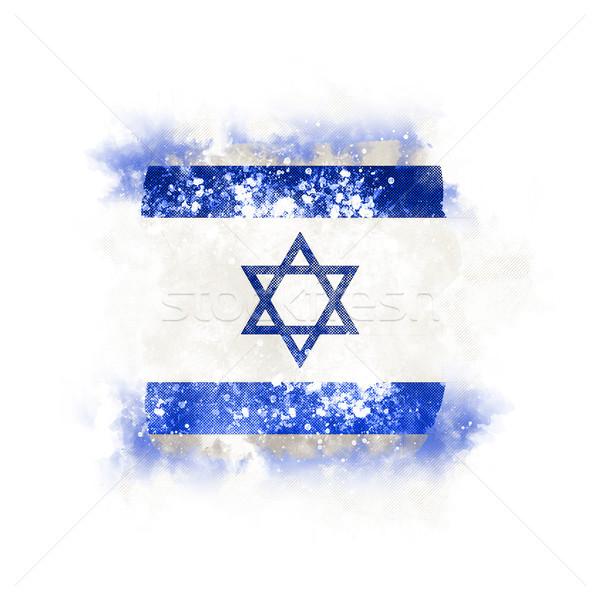 Vierkante grunge vlag Israël 3d illustration retro Stockfoto © MikhailMishchenko