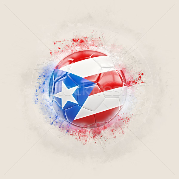 Grunge voetbal vlag Puerto Rico 3d illustration wereld Stockfoto © MikhailMishchenko