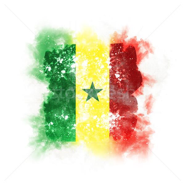 Carré grunge pavillon Sénégal 3d illustration rétro Photo stock © MikhailMishchenko