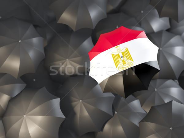 Esernyő zászló Egyiptom felső fekete esernyők Stock fotó © MikhailMishchenko