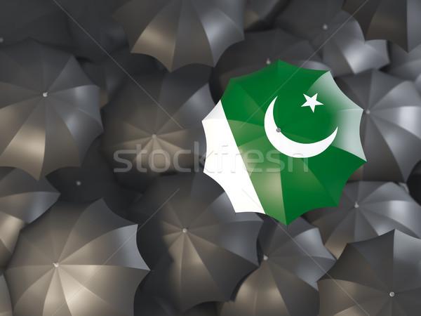 Esernyő zászló Pakisztán felső fekete esernyők Stock fotó © MikhailMishchenko