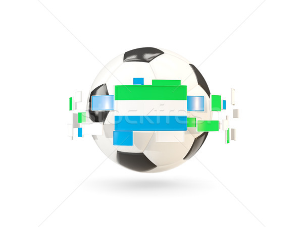 Soccer ball with line of flags. Flag of sierra leone Stock photo © MikhailMishchenko