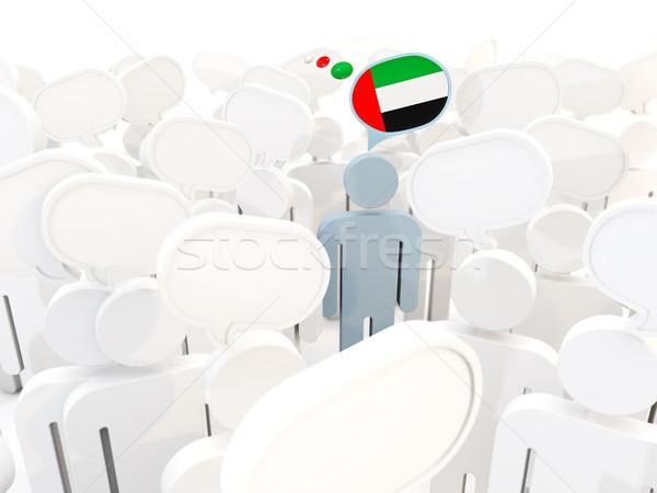 Homem bandeira Emirados Árabes Unidos multidão ilustração 3d assinar Foto stock © MikhailMishchenko