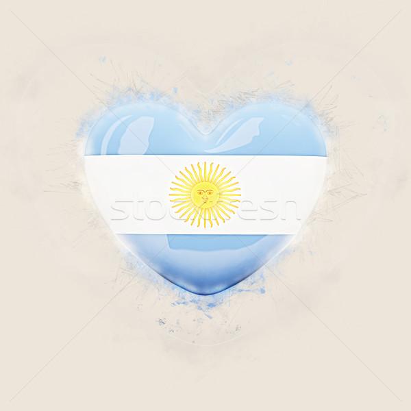 Szív zászló Argentína grunge 3d illusztráció utazás Stock fotó © MikhailMishchenko