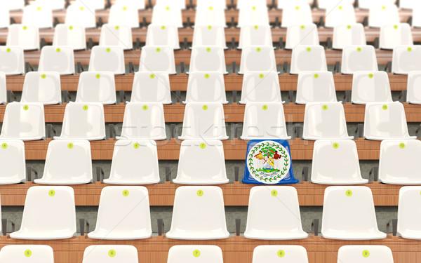 Stadion ülés zászló Belize csetepaté fehér Stock fotó © MikhailMishchenko