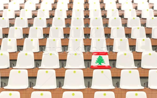 Stadion ülés zászló Libanon csetepaté fehér Stock fotó © MikhailMishchenko