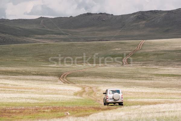 Road through the hills. Alpine scenery at Altai Mountains Stock photo © MikhailMishchenko