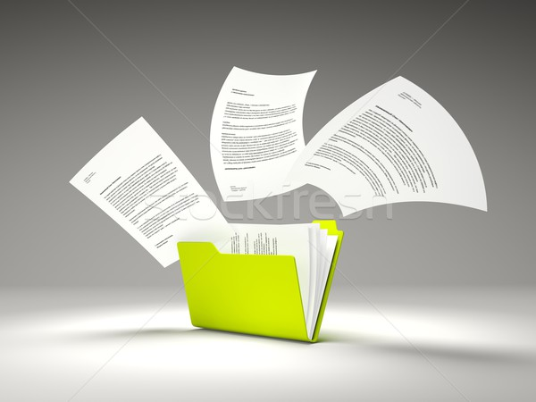 Green folder with files Stock photo © MikhailMishchenko