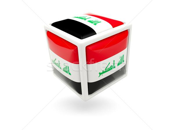 Bayrak Irak küp ikon yalıtılmış beyaz Stok fotoğraf © MikhailMishchenko