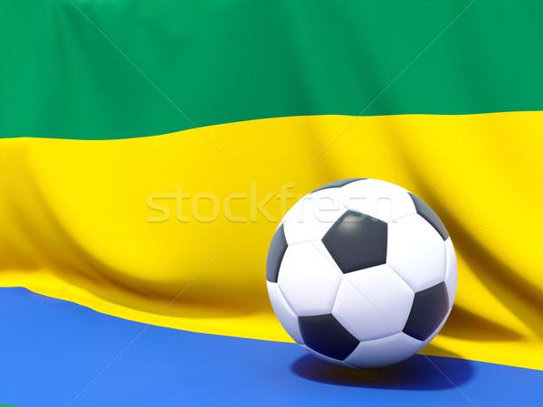Banderą Gabon piłka nożna zespołu kraju Zdjęcia stock © MikhailMishchenko
