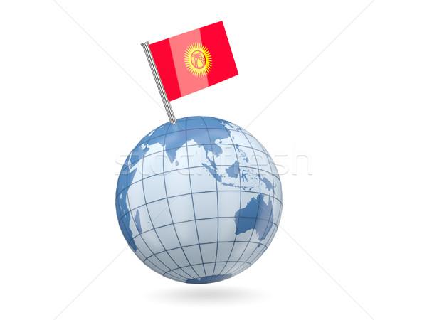 Dünya bayrak Kırgızistan mavi yalıtılmış beyaz Stok fotoğraf © MikhailMishchenko