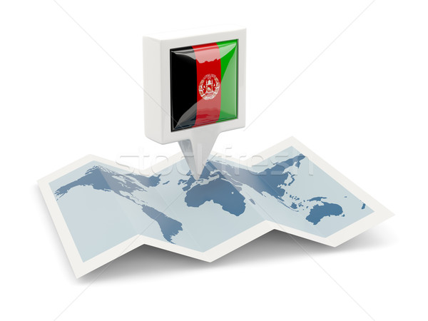 Platz Pin Flagge Afghanistan Karte Reise Stock foto © MikhailMishchenko