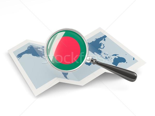 Nagyított zászló Banglades térkép izolált fehér Stock fotó © MikhailMishchenko