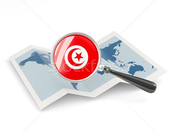 Magnified flag of tunisia with map Stock photo © MikhailMishchenko