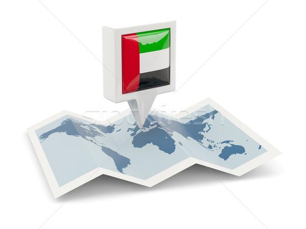 Praça pin bandeira Emirados Árabes Unidos mapa viajar Foto stock © MikhailMishchenko