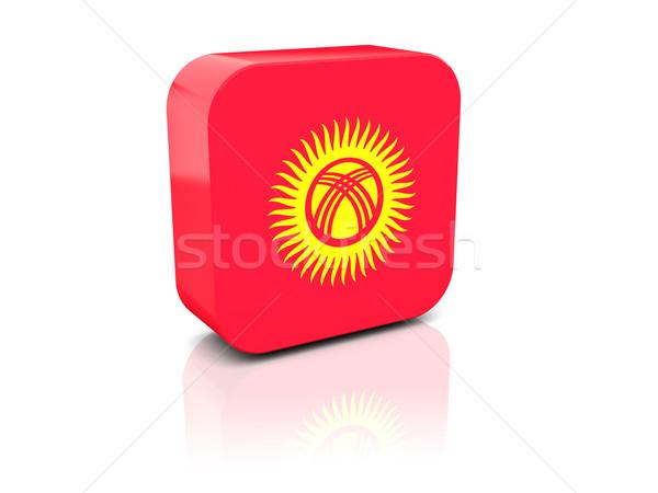 Kare ikon bayrak Kırgızistan yansıma beyaz Stok fotoğraf © MikhailMishchenko