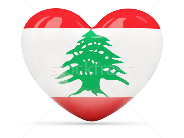 Szív alakú ikon zászló Libanon izolált Stock fotó © MikhailMishchenko